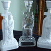 Chalinor, Taylor &amp; Co./U.S.Glass &quot;CALVARY CANDLESTICKS&quot; Opal &amp; Clear