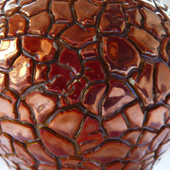 Red eosin crackled vase by Zsolnay  - Pottery