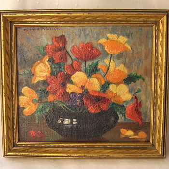 Dainty 1940s Still Life Oil Painting by Mildred Poissant - Minnesota Artist