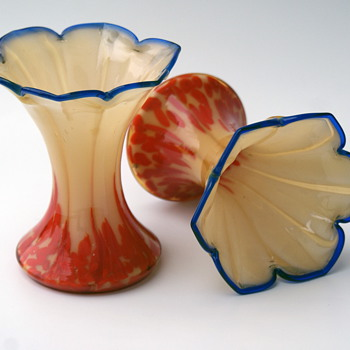 Pair of WELZ Translucent and spots  - Art Glass