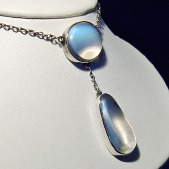 Vintage Antique Ceylon Moonstone Silver Lavaliere Necklace - Fine Jewelry