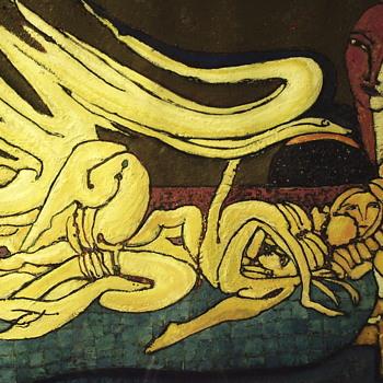 """Oil on Paper, Spanish Abstract Art""""METAMORFOSIS"""",20 century - Fine Art"""