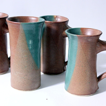 Set of 4 Handmade Cups, anyone Know the Marking? - Art Pottery