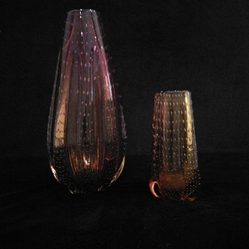 Whitefriars gold/amber glass vase with controlled bubbles Geoffrey Baxter design patern No: 9777