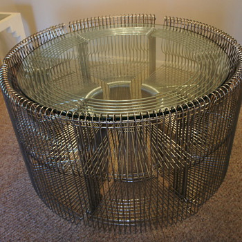 Art Deco round chrome glass 6 chair set.