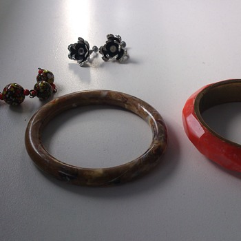 Costume jewelry lot, german earrings and interesting bangles