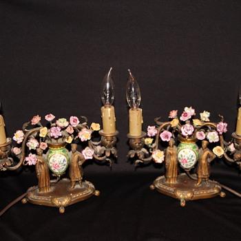 My pair of Asian/Oriental bronze & porcelain lamps