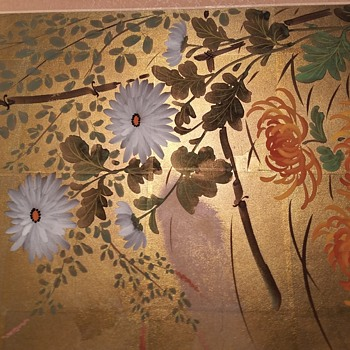 Asian Chinese Japanese Painting Gold Paper