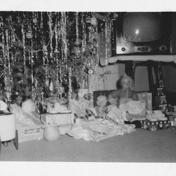 Christmas Day 1949 old toys  - Photographs