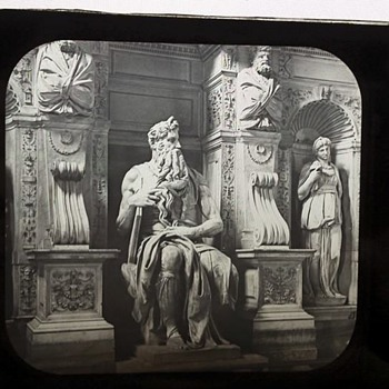 1800's Glass Photo Slide - Statue of Moses
