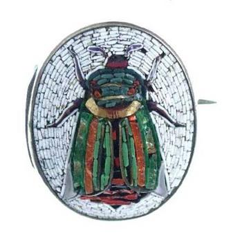 Micro Mosaic Beetle brooch - Fine Jewelry