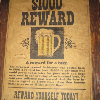 Vintage $1000 Beer sign - Signs