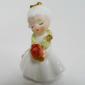 Sweet Miniature China Angel Flower of the Month Birthday Girl