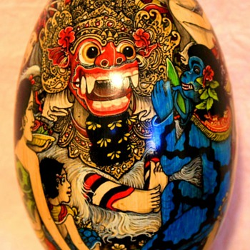 Indian Painted Wooden Egg Godhead and Blue Monkey Diety - Asian