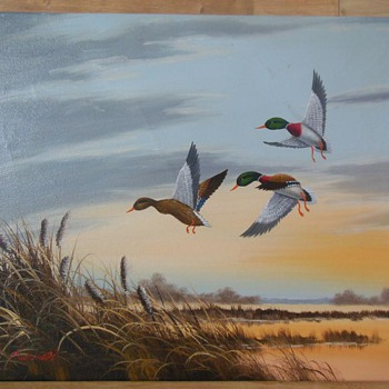 Three Ducks Flying Over a Lake - Oil Painting.