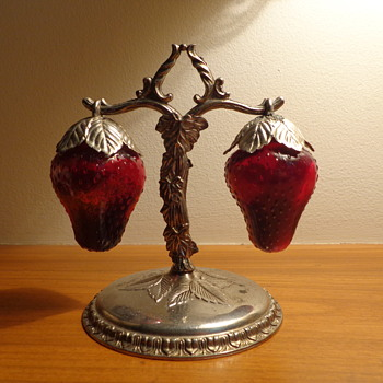 Salt and Pepper Shakers:  Glass Strawberries
