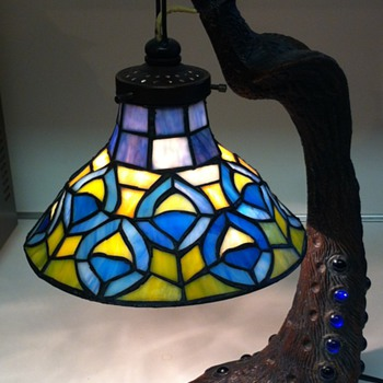 Victorian style peacock table lamp with stained glass shade