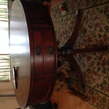 Antique drum table -large double drawer - Furniture