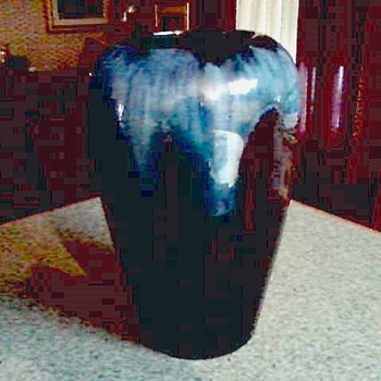 "BMP ""Blue Mountain Pottery"" Blue Drip Glaze Over Cobalt 10"" Vase / Canada/ Circa 20th Century - Art Pottery"