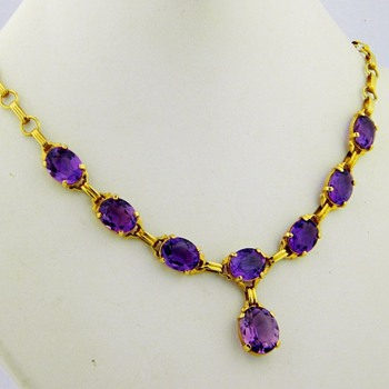 "Antique Deco ""Birks"" Royal Amethyst 14k Lavaliere Nceklace  - Fine Jewelry"