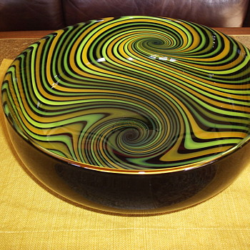 Jeff Holmwood Handcrafted Vortex Bowl - Art Glass