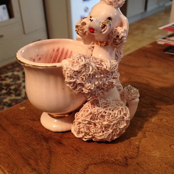 pink poodle candle holder