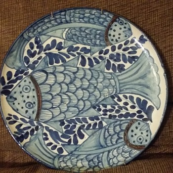 Decorative blue fish plate