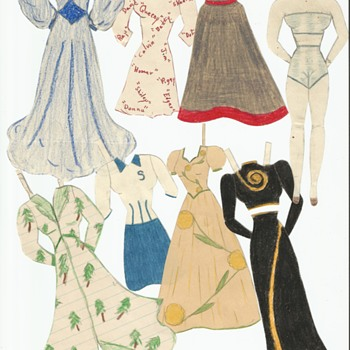 Handmade Paper Dolls 1940 WWII . War bond stamped letter also . - Paper