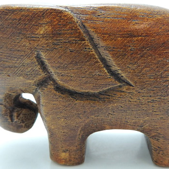 Hand Carved Teak Elephant - Animals