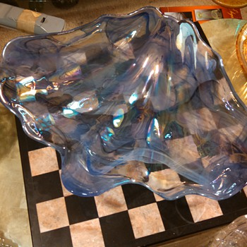 Iridized lavender/Blue Shell Console Bowl