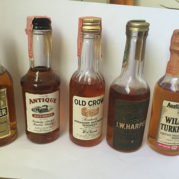 Vintage Miniature Kentucky Straight Bourbon Whiskey Liquor Bottles