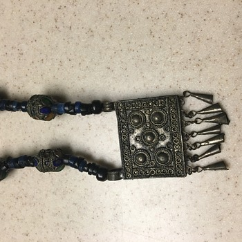 Old Indian Glass Bead and Metal Necklace - Costume Jewelry