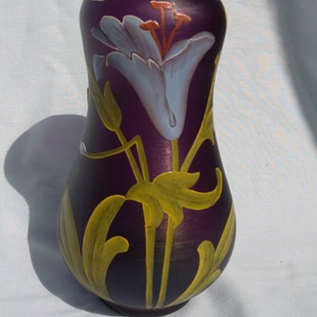 Mid Century Art Glass Hand Painted Vase
