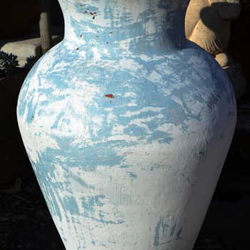 "Half-stripped / Painted 30"" High Mexican Terracotta Floor Vase"