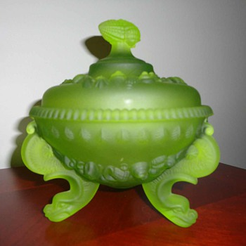 Vintage (serpent looking) Dolphin footed westmoreland covered compote