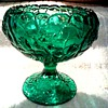 "Fenton Cupped Comport in Emerald / Olde Virginia Glass ""Water Lily"" Pattern /Circa 1970's"
