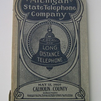 1907 Battle Creek Michigan Phone Book with Kellogg's Number - Telephones
