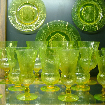 Pukeberg Vasline Goblets and plates Patented by Jules Venon - Art Glass