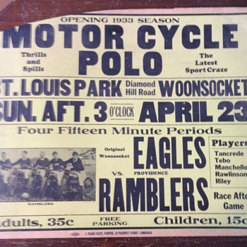 1933 Motor Cycle Polo poster - Advertising