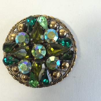 Unmarked Rhinestone and Filigree Brooch - Costume Jewelry