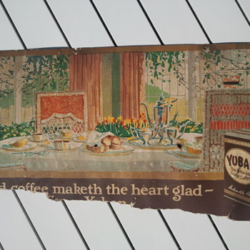 Pre-1920&#039;s Yuban Coffee Cardboard Trolley Car Advertisement Sign - Signs
