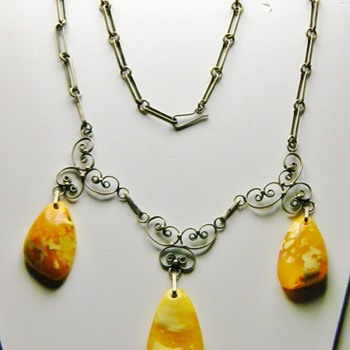 Antique Victorian Natural Baltic Amber 865 Filigree Ring W/Matching lavaliere Necklace - Fine Jewelry