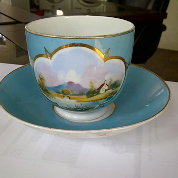 Hand painted cup and saucer - China and Dinnerware