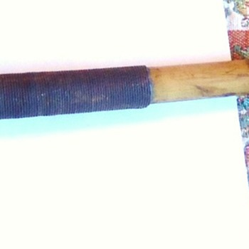 Repost, Club weapon from? bamboo handle, metal over wood, appears very old  TESTS + Blood