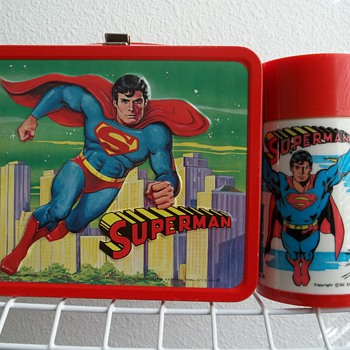 1978 Superman lunch box with bottle.