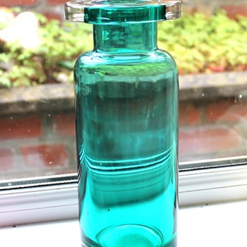 Saturday's find, turquoise clear cased glass vass