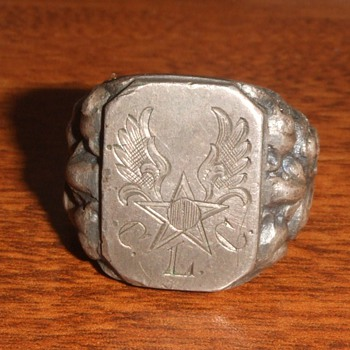 WW2 German Silver Trench Art Ring for Army Air Corps soldier - Military and Wartime