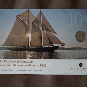Official First Day 10 Cent Canadian Coin (2005)