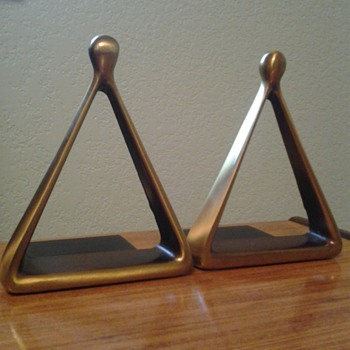 Mid Century Modern Brass Bookends by Ben Seibel circa 1950s
