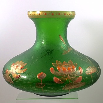 Carl Goldberg, Haida enameled and acid cut-back vase, ca. 1900